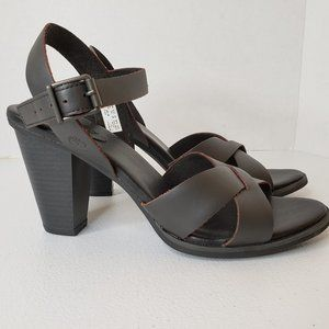 Timberland Derby Heights 8 Blk Leather Sandal Heel